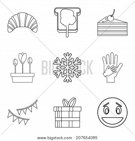 Stuffed cake icons set. Outline set of 9 stuffed cake vector icons for web isolated on white background
