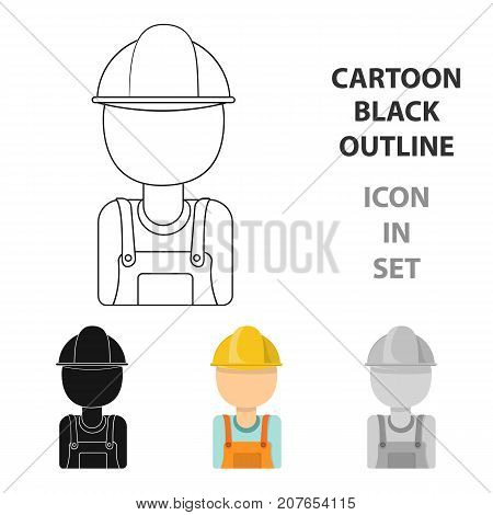 Oil worker icon in cartoon style isolated on white background. Oil industry symbol vector illustration.