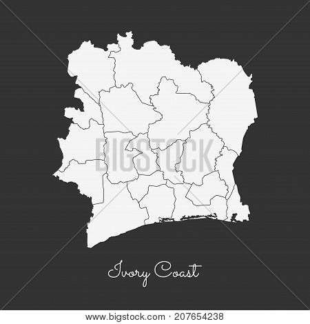 Ivory Coast Region Map: White Outline On Grey Background. Detailed Map Of Ivory Coast Regions. Vecto