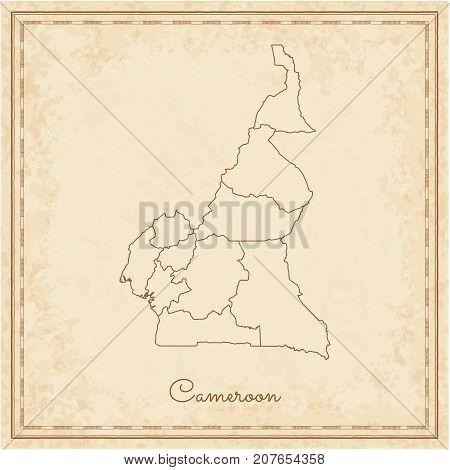 Cameroon Region Map: Stilyzed Old Pirate Parchment Imitation. Detailed Map Of Cameroon Regions. Vect