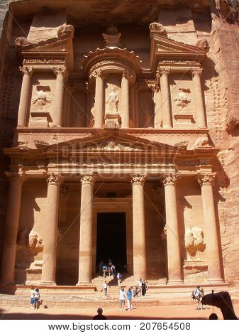Al Khazneh the treasury ancient city of Petra in Jordan