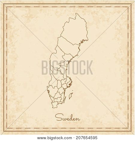 Sweden Region Map: Stilyzed Old Pirate Parchment Imitation. Detailed Map Of Sweden Regions. Vector I