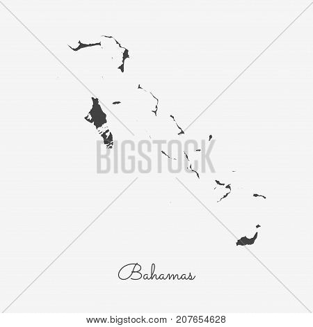 Bahamas Region Map: Grey Outline On White Background. Detailed Map Of Bahamas Regions. Vector Illust
