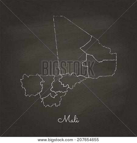 Mali Region Map: Hand Drawn With White Chalk On School Blackboard Texture. Detailed Map Of Mali Regi