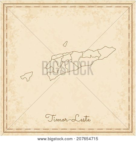 Timor-leste Region Map: Stilyzed Old Pirate Parchment Imitation. Detailed Map Of Timor-leste Regions