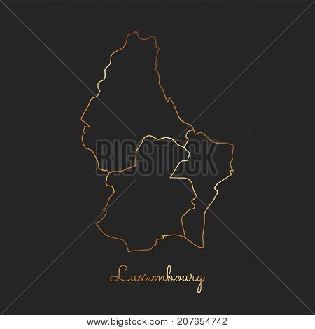 Luxembourg Region Map: Golden Gradient Outline On Dark Background. Detailed Map Of Luxembourg Region
