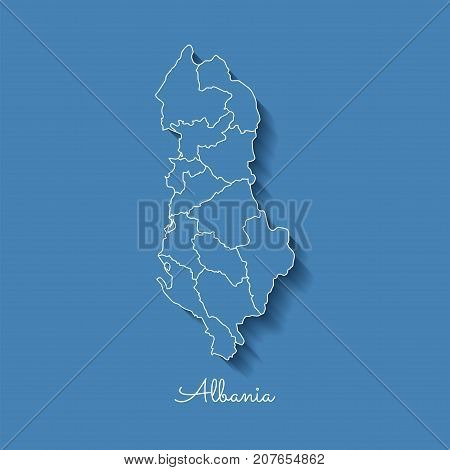 Albania Region Map: Blue With White Outline And Shadow On Blue Background. Detailed Map Of Albania R