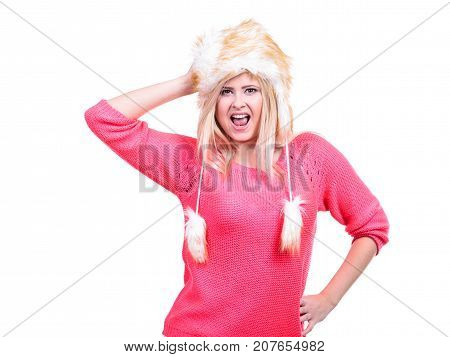 Attractive Woman Wearing Furry Winter Hat