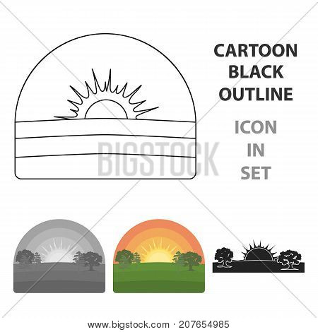 Sunrise icon in cartoon style isolated on white background. Weather symbol vector illustration.