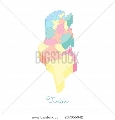 Tunisia Region Map: Colorful Isometric Top View. Detailed Map Of Tunisia Regions. Vector Illustratio