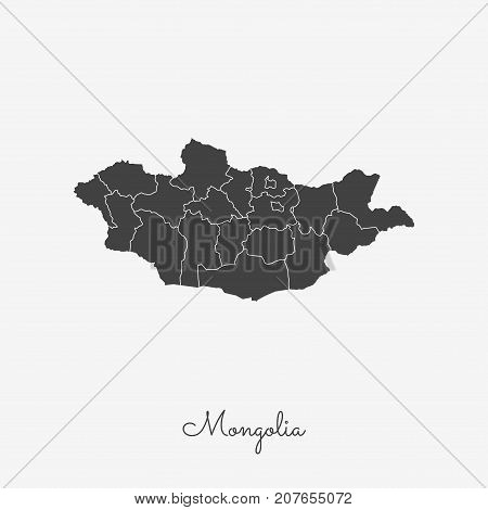 Mongolia Region Map: Grey Outline On White Background. Detailed Map Of Mongolia Regions. Vector Illu