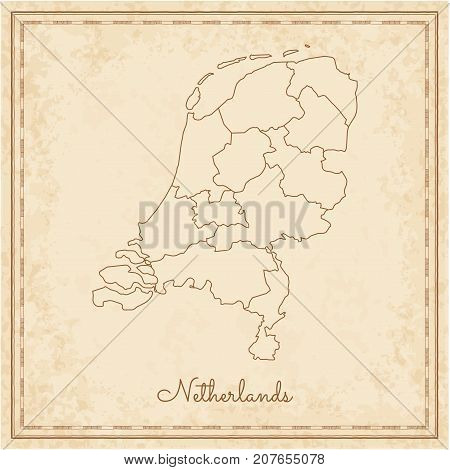 Netherlands Region Map: Stilyzed Old Pirate Parchment Imitation. Detailed Map Of Netherlands Regions