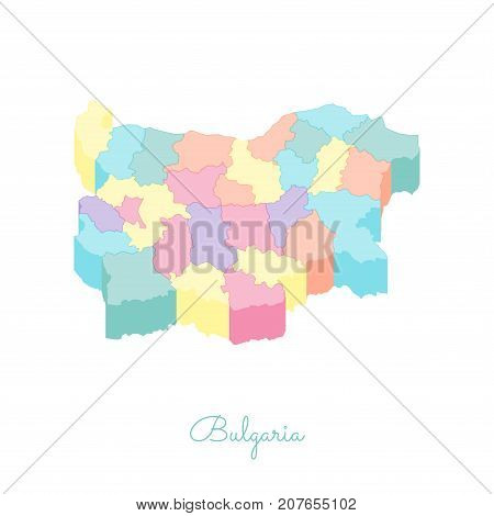 Bulgaria Region Map: Colorful Isometric Top View. Detailed Map Of Bulgaria Regions. Vector Illustrat