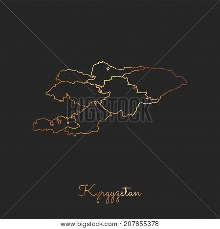 Kyrgyzstan Region Map: Golden Gradient Outline On Dark Background. Detailed Map Of Kyrgyzstan Region