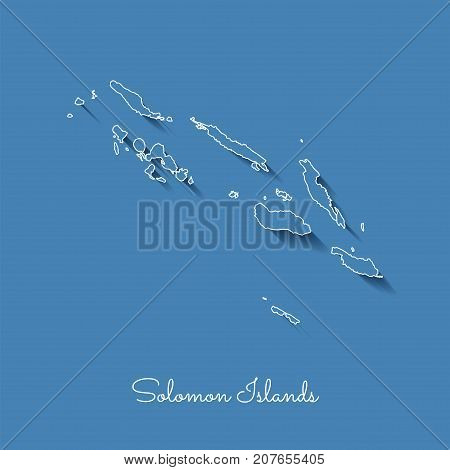 Solomon Islands Region Map: Blue With White Outline And Shadow On Blue Background. Detailed Map Of S