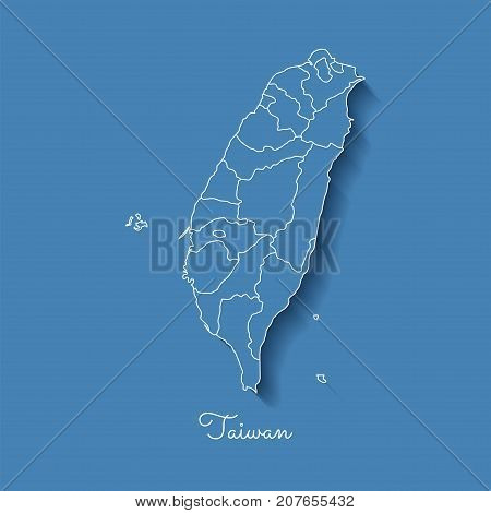 Taiwan Region Map: Blue With White Outline And Shadow On Blue Background. Detailed Map Of Taiwan Reg
