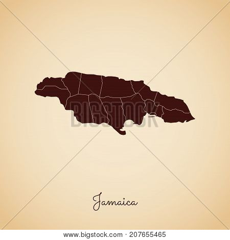 Jamaica Region Map: Retro Style Brown Outline On Old Paper Background. Detailed Map Of Jamaica Regio