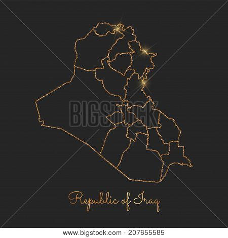 Republic Of Iraq Region Map: Golden Glitter Outline With Sparkling Stars On Dark Background. Detaile
