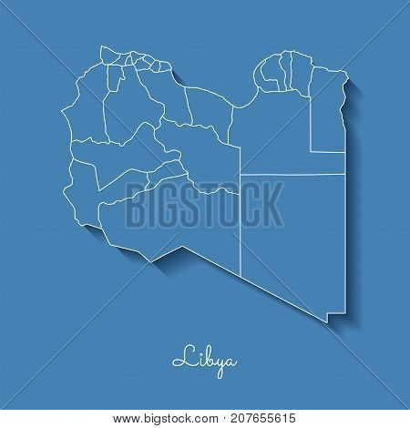 Libya Region Map: Blue With White Outline And Shadow On Blue Background. Detailed Map Of Libya Regio