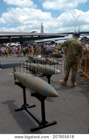 Changi, Singapore - Feb 6,2010 : USAF aircraft missiles show in Singapore Air Show 2010