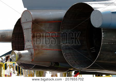 Changi, Singapore - Feb 6,2010 : F-15 exhaust nozzle display in Singapore Air Show 2010