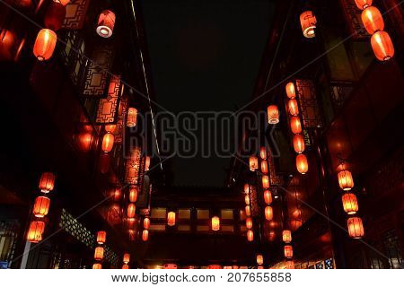 The Lanterns Surrounding Shops And Stores Around The Scenic Jinli Ancient Street Of Chengdu