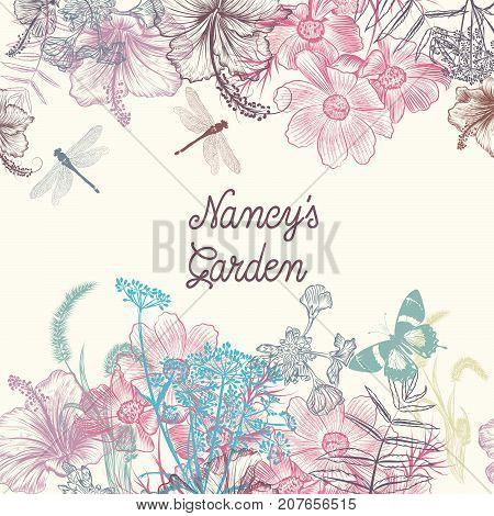 Floral vector background with engraved flowers hibiscus, dragonfly. Nancy's garden