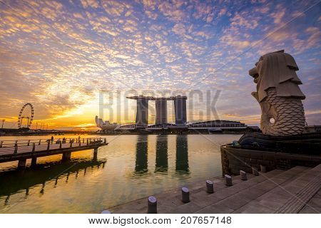 Singapore City, Singapore: Sep 29,2017: Singapore Skyline. Singapore`s Business District, Marina Bay