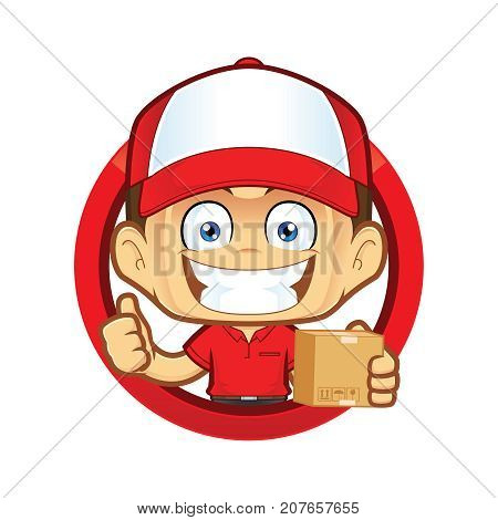 Clipart picture of a delivery man courier cartoon character holding a box and giving thumbs up in circle shape