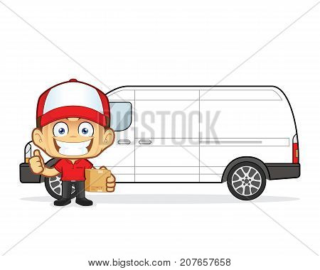 Clipart picture of a delivery man courier cartoon character in front van with cardboard boxes