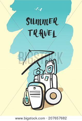 Freehand Drawn Illustration For Summer Travel. Poster For Busine