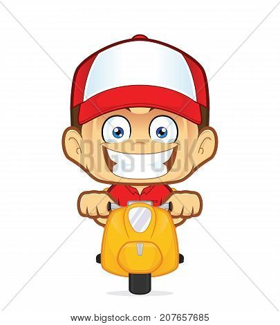 Clipart picture of a delivery man courier cartoon character riding scooter