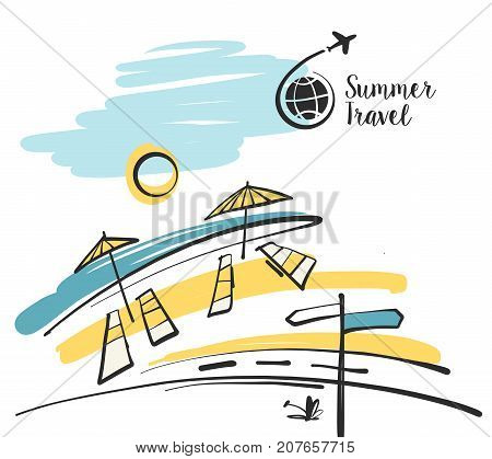 Freehand Drawn  Illustration With Black Logo For Summer Travel B