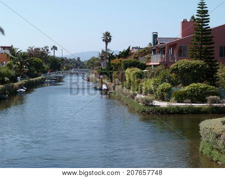 View of a canal in Venice Beach Los Angeles California USA