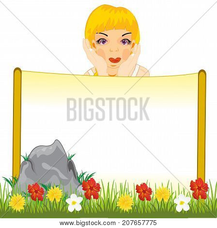 Poster on nature and dreamy girl.Vector illustration