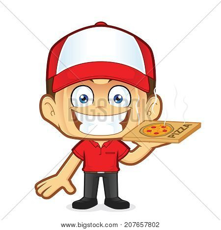 Clipart picture of a pizza delivery man courier cartoon character