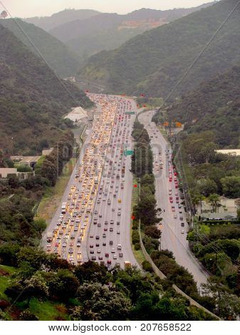 Aerial view of a traffic jam on a highway in Los Angeles California USA