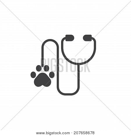 Stethoscope for animal diagnosis icon vector, filled flat sign, solid pictogram isolated on white. Veterinary Symbol, logo illustration