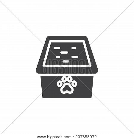 Cat box icon vector, filled flat sign, solid pictogram isolated on white. Symbol, logo illustration.