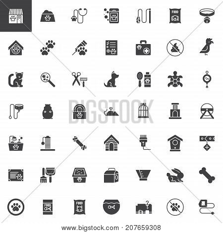 Pet shop accessories vector icons set, modern solid symbol collection, filled pictogram pack. Signs, logo illustration. Set includes icons as toy, animal, dog, aquarium, cat, hamster, veterinary