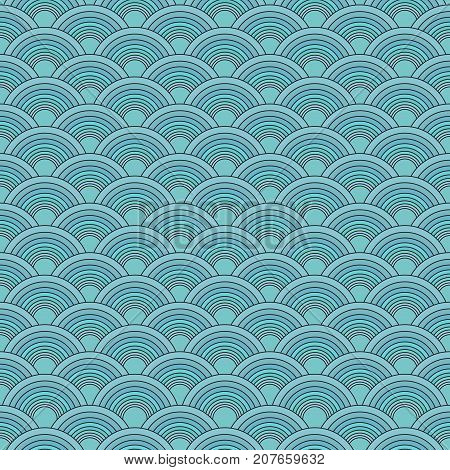 Traditional Japanese seamless pattern. Blue soft colored fish squama. Mermaid scales. Stock vector