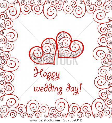 Greeting wedding card with red lacy curled hearts and frame
