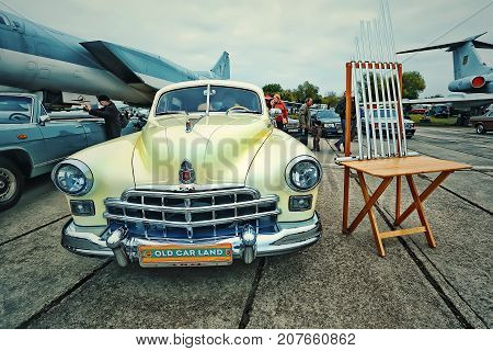KYIV, UKRAINE - OCTOBER 2017: Soviet retro car yellow GAZ-12 (ZIM) manufactured between 1949 and 1959 is presented at the