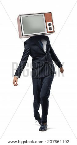 A businessman walking unsteady on his legs and wearing a retro TV instead of his head. Twisted information. Corporate manipulation. Impaired productivity.