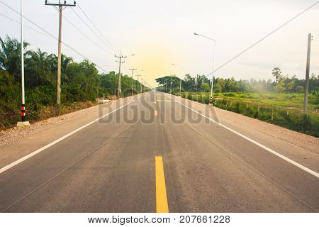 Image of long straight road country background