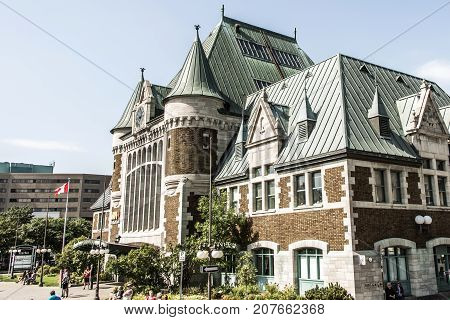 Quebec, Canada - 12.09.2017 View of Gare du Palais, Quebec Central Train Station. Opened in 1915 and is a Heritage Railway Station