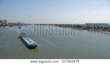 Passage of tankers with oil products along the Don River through Rostov-on-Don Russia