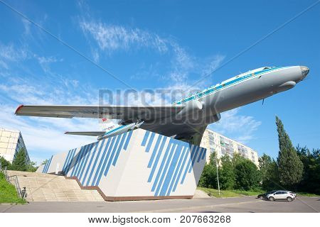 RYBINSK, RUSSIA - JULY 16, 2017: Tu-104a is a monument to the Rybinsk engine builders on a sunny July morning