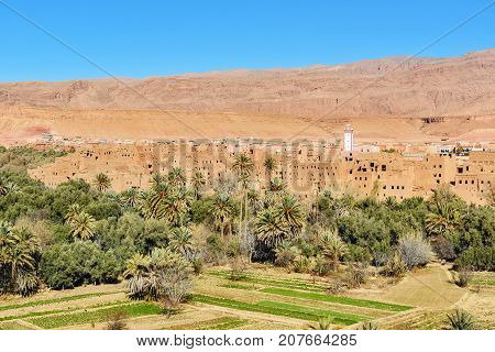 View City Of Tinghir City And Oasis. Morocco
