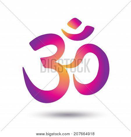 Aum Om Ohm symbol on white background. Vector illustration Indian philosophy icon